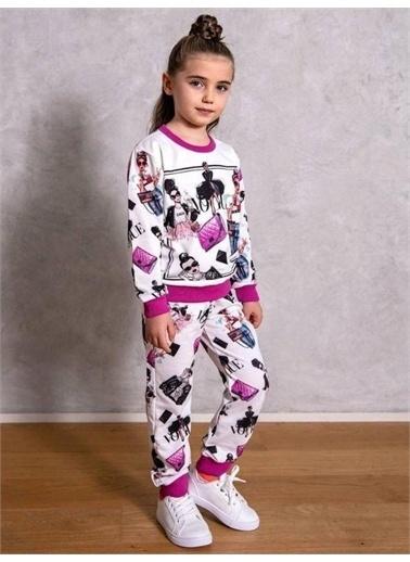 Riccotarz Kız Çocuk Vogue Purple- Eşofman Takım Beyaz